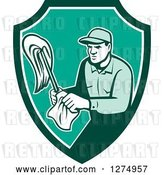 Vector Clip Art of Retro Male Janitor with a Mop and Wipes in a Green and White Shield by Patrimonio