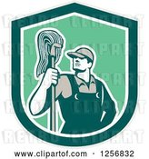 Vector Clip Art of Retro Male Janitor with a Mop in a Green Shield by Patrimonio