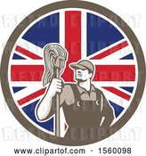 Vector Clip Art of Retro Male Janitor with a Mop in a Union Jack Flag Circle by Patrimonio