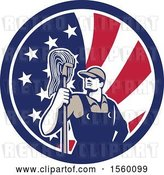 Vector Clip Art of Retro Male Janitor with a Mop in an American Flag Circle by Patrimonio
