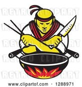 Vector Clip Art of Retro Male Japanese Chef with Crossed Arms, a Knife and Chopsticks over a Wok and Flames by Patrimonio