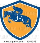 Vector Clip Art of Retro Male Jockey on a Leaping Horse in a Blue White and Yellow Shield by Patrimonio