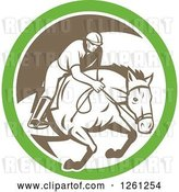 Vector Clip Art of Retro Male Jockey on a Leaping Horse in a Green White and Brown Circle by Patrimonio