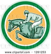 Vector Clip Art of Retro Male Jockey on a Leaping Horse in a Green White and Yellow Circle by Patrimonio