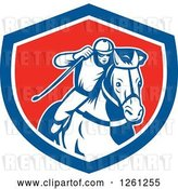 Vector Clip Art of Retro Male Jockey Racing a Horse in a Blue White and Red Shield by Patrimonio