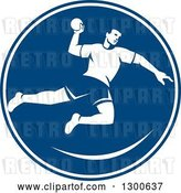 Vector Clip Art of Retro Male Jumping Handball Player in a Blue and White Circle by Patrimonio