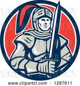 Vector Clip Art of Retro Male Knight in Armor, Holding a Sword in a Blue White and Red Circle by Patrimonio