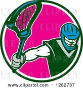 Vector Clip Art of Retro Male Lacrosse Player Holding a Stick in a Green White and Pink Circle by Patrimonio