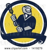 Vector Clip Art of Retro Male Lacrosse Player in a Blue White and Yellow Circle with a Banner by Patrimonio