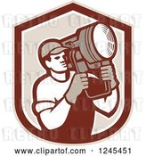 Vector Clip Art of Retro Male Lighting Technician Holding a Spotlight in a Shield by Patrimonio