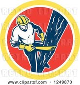 Vector Clip Art of Retro Male Lineman Climbing a Pole in a Red and Yellow Circle by Patrimonio