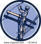 Vector Clip Art of Retro Male Lineman Working on a Pole in a Blue White and Purple Circle by Patrimonio