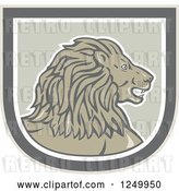 Vector Clip Art of Retro Male Lion Head in a Shield by Patrimonio