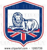 Vector Clip Art of Retro Male Lion Resting on a British Flag in a Shield by Patrimonio