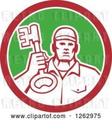 Vector Clip Art of Retro Male Locksmith Holding up a Key in a Red White and Green Circle by Patrimonio
