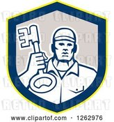 Vector Clip Art of Retro Male Locksmith Holding up a Key in a Yellow Blue and Gray Shield by Patrimonio