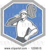 Vector Clip Art of Retro Male Locksmith with a Key in a Blue and Gray Shield by Patrimonio