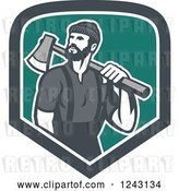 Vector Clip Art of Retro Male Lumberjack with an Axe in a Shield by Patrimonio