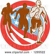 Vector Clip Art of Retro Male Marathon Runner Ahead of Others over an American Circle by Patrimonio