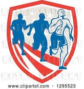 Vector Clip Art of Retro Male Marathon Runner Ahead of Others over an American Shield by Patrimonio
