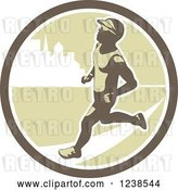 Vector Clip Art of Retro Male Marathon Runner in an Urban Circle by Patrimonio
