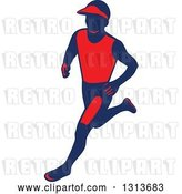 Vector Clip Art of Retro Male Marathon Runner in Red and Navy Blue by Patrimonio