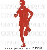 Vector Clip Art of Retro Male Marathon Runner in Red and White by Patrimonio