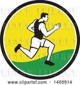 Vector Clip Art of Retro Male Marathon Runner or Sprinter in a Black White Yellow and Green Circle by Patrimonio
