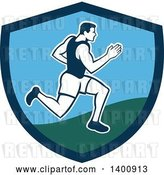 Vector Clip Art of Retro Male Marathon Runner or Sprinter in a Blue and Green Shield by Patrimonio