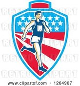 Vector Clip Art of Retro Male Marathon Runner over a Mountain American Stars and Stripes Shield by Patrimonio