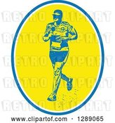 Vector Clip Art of Retro Male Marathon Runner with in a Blue White and Yellow Oval by Patrimonio