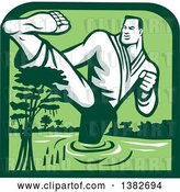 Vector Clip Art of Retro Male Marital Arts Fighter Kicking and Wading in a Swamp Inside a Green Frame by Patrimonio