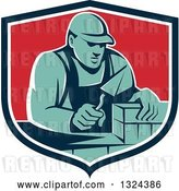 Vector Clip Art of Retro Male Mason Worker Laying a Brick Wall in a Blue White and Red Shield by Patrimonio