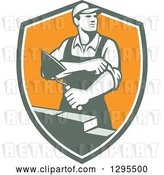 Vector Clip Art of Retro Male Mason Worker Rolling up His Sleeves and Laying a Brick Wall in a Shield by Patrimonio