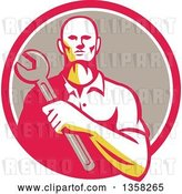 Vector Clip Art of Retro Male Mechanic Holding a Giant Wrench over His Chest in a Pink White and Taupe Circle by Patrimonio