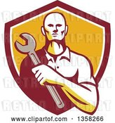 Vector Clip Art of Retro Male Mechanic Holding a Giant Wrench over His Chest in a Shield by Patrimonio