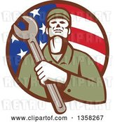 Vector Clip Art of Retro Male Mechanic Holding a Giant Wrench over His Chest in an American Flag Circle by Patrimonio