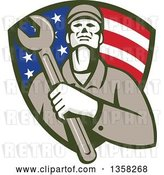 Vector Clip Art of Retro Male Mechanic Holding a Giant Wrench over His Chest in an American Flag Shield by Patrimonio