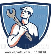 Vector Clip Art of Retro Male Mechanic Holding a Giant Wrench over His Shoulder in a Blue and White Shield by Patrimonio
