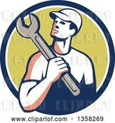 Vector Clip Art of Retro Male Mechanic Holding a Giant Wrench over His Shoulder in a Blue White and Green Circle by Patrimonio