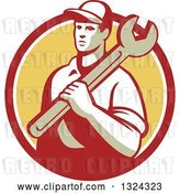 Vector Clip Art of Retro Male Mechanic Holding a Wrench and Emerging from a Red White and Yellow Circle by Patrimonio