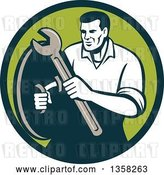 Vector Clip Art of Retro Male Mechanic Holding a Wrench and Shield in a Green Circle by Patrimonio