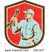 Vector Clip Art of Retro Male Mechanic Holding a Wrench in a Brown White and Red Shield by Patrimonio