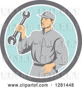 Vector Clip Art of Retro Male Mechanic Holding a Wrench in a Gray White and Blue Circle by Patrimonio
