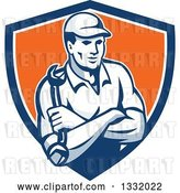 Vector Clip Art of Retro Male Mechanic Holding a Wrench in Folded Arms in a Blue White and Orange Shield by Patrimonio