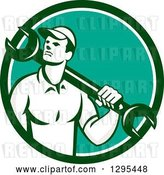 Vector Clip Art of Retro Male Mechanic Holding a Wrench over His Shoulder in a Green White and Turquoise Circle by Patrimonio