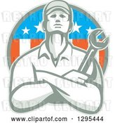 Vector Clip Art of Retro Male Mechanic Holding a Wrench with Folded Arms in an American Circle by Patrimonio