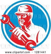 Vector Clip Art of Retro Male Mechanic Holding out a Wrench in a Blue and White Circle by Patrimonio