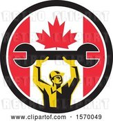 Vector Clip Art of Retro Male Mechanic Holding up a Giant Wrench in a Canadian Flag Circle by Patrimonio