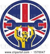 Vector Clip Art of Retro Male Mechanic Holding up a Giant Wrench in a Union Jack Flag Circle by Patrimonio